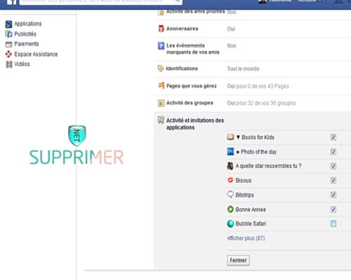 bloquer notification application fb
