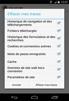 android effacer l'historique des applications installées