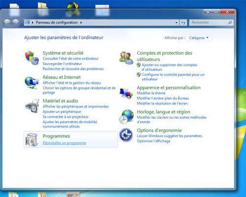 supprimer programme sous windows