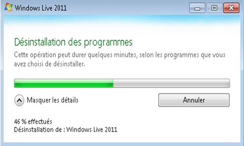 supprimer Windows live