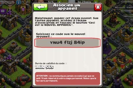 transfert village clash of clan app