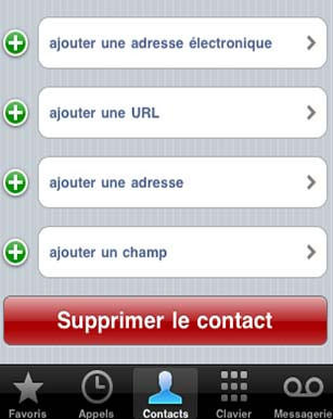effacer contact iphone