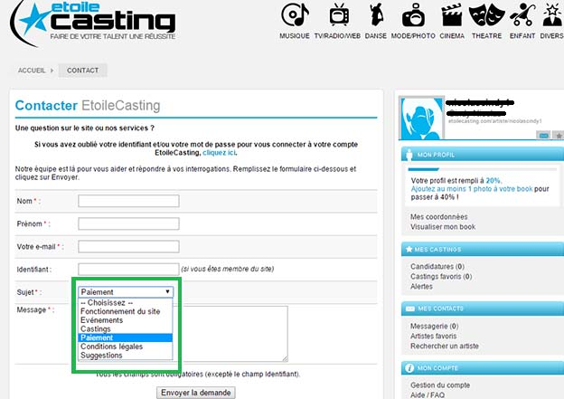 supprimer compte etoilecasting
