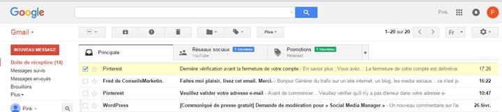 comment faire pour ne plus recevoir de mail de pinterest