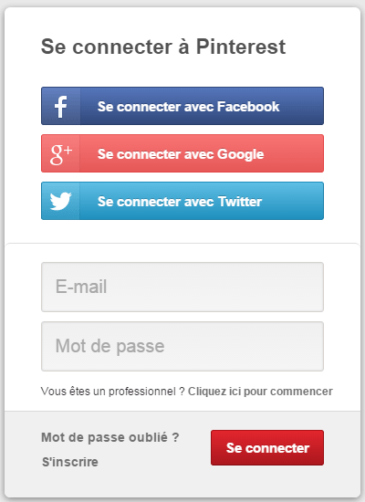 se connecter à pinterest