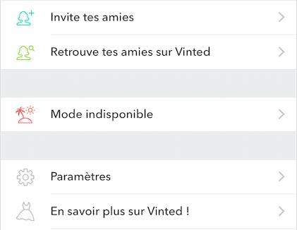 Activer le mode indisponible sur Vinted.fr