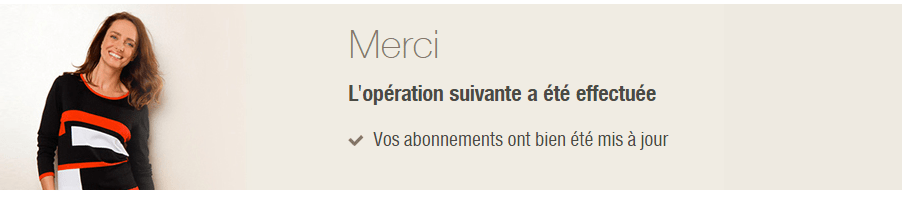 Confirmation de suppression de newsletter de damart