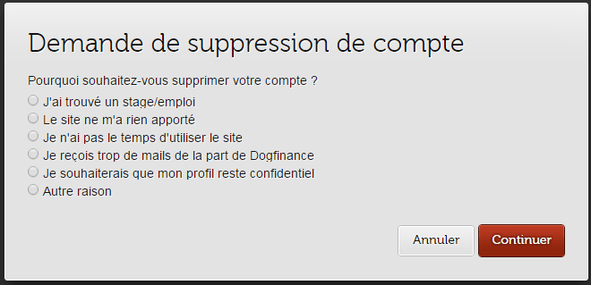 demande de suppression dogfinance
