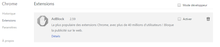 comment supprimer adblock