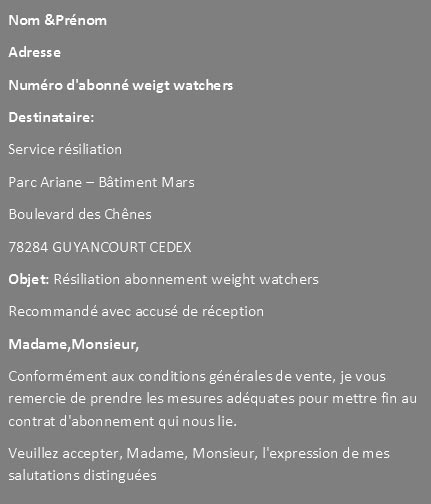 Lettre de résiliation Weight Watchers
