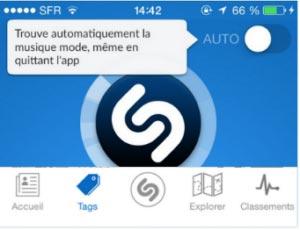 Effacer tag de l'application Shazam
