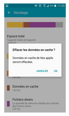 Nettoyer le cache Android