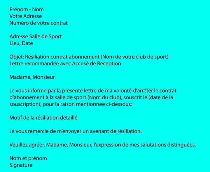 r u00e9siliation abonnement salle de sport  mod u00e8le lettre pour
