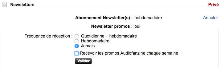 annuler les newsletter Audiofanzine