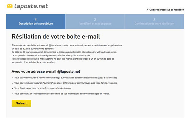 supprimer mail laposte
