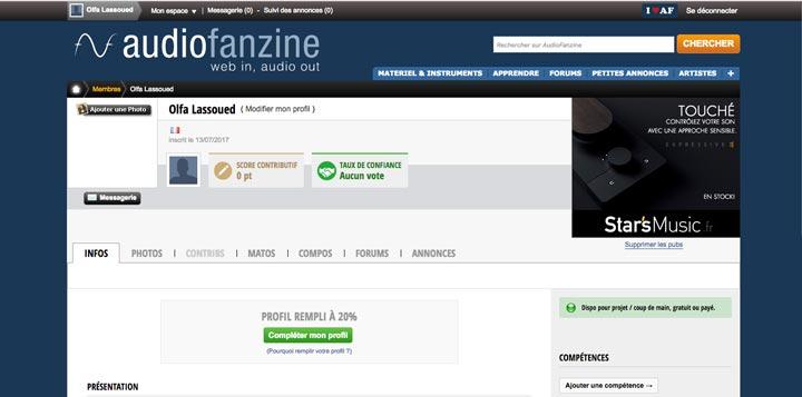 Supprimer un compte Audiofanzine
