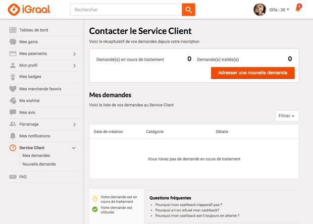 Contacter service client iGraal