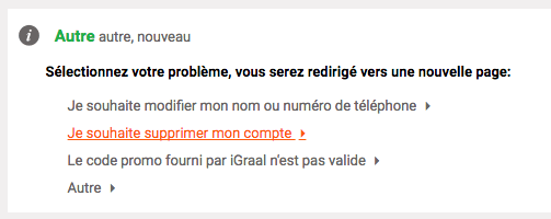 Demande de suppression de compte iGraal