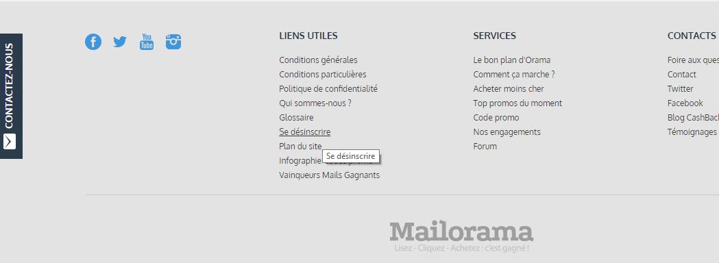 se désinscrire de compte Mailrorama