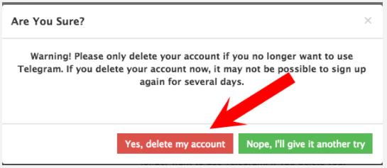 confirmer la fermeture du votre compte telegram