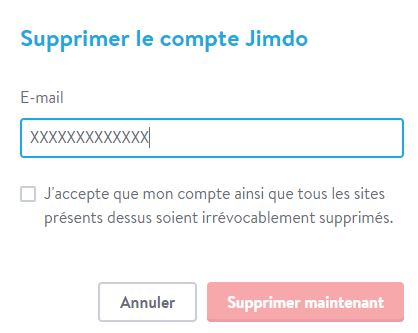 confirmer la suppression de votre compte jimdo