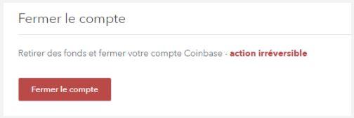 Fermer le compte Coinbase