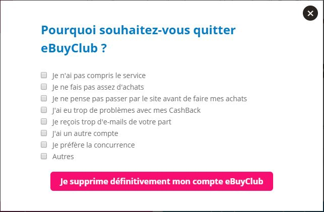 raison de suppression du compte eBuyClub