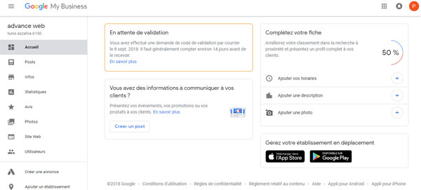 acces au site Google My Business