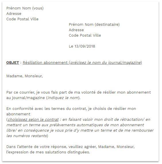 lettre de résiliation magazine public