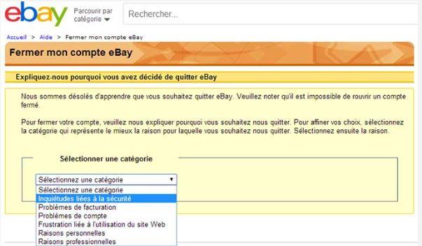 raison de suppression de compte eBay
