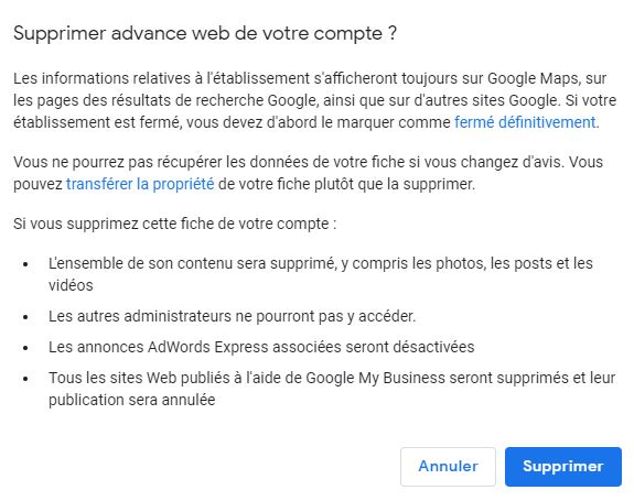 valider la suppression d'une fiche Google My Business
