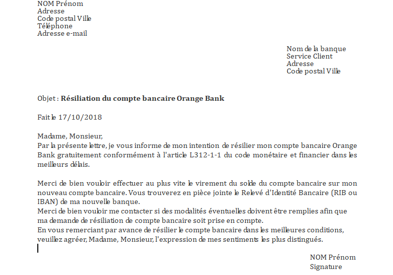 Lettre de résiliation Orange Bank