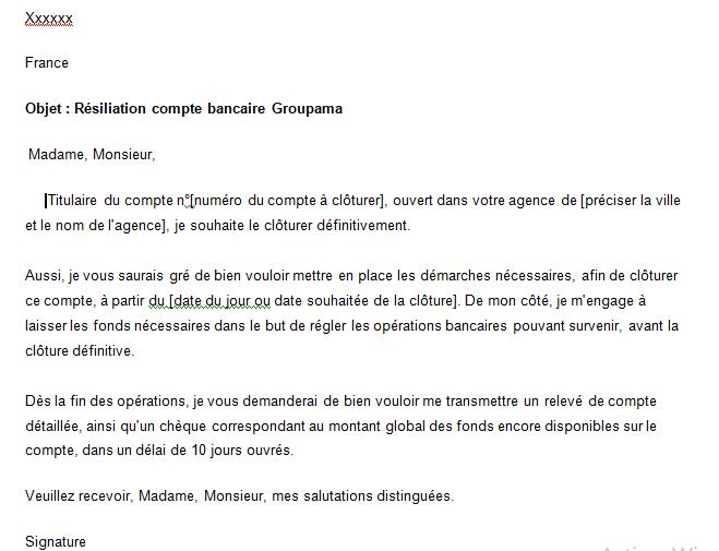 Lettre résiliation Groupama