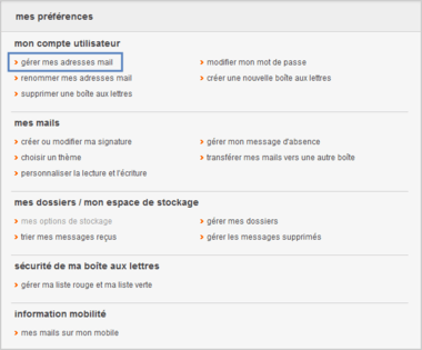 gerer mes adresses mail orange