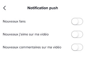 Désactiver les notifications push tiktok