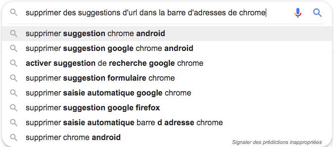 Supprimer suggestions sur Google Chrome