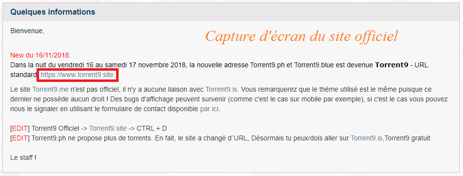 torrent9 ne propose plus de lien : déclaration du staff