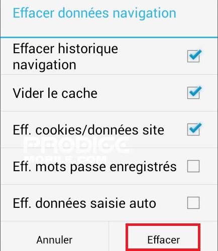 vider le cache sur un smartphone android