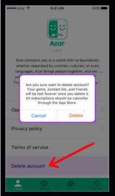 Fermer un compte Azar