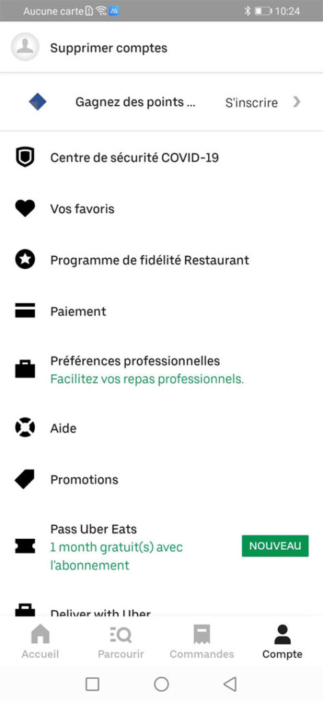 aide relative au compte Uber Eats