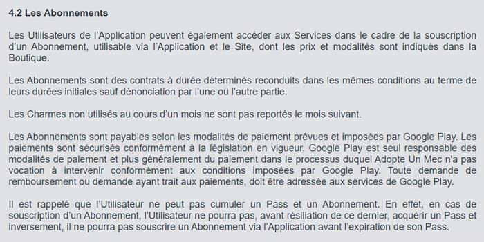 Annuler un abonnement AdopteUnMec sur Google Play
