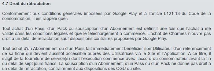 Droit de rétraction d'un abonnement adopteunmec sur Android