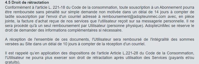 Droit de rétraction d'un abonnement adopteunmec sur site