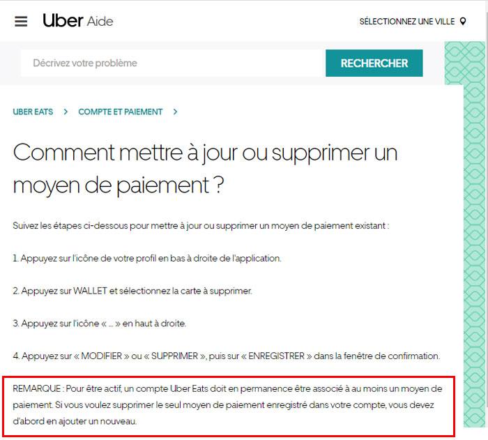 Impossible de supprimer un moyen de paiement Uber ou Uber Eats (carte ou compte bancaire)