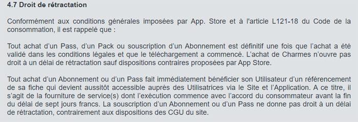 Remboursement d'un abonnement AdopteUnMec sur iPhone