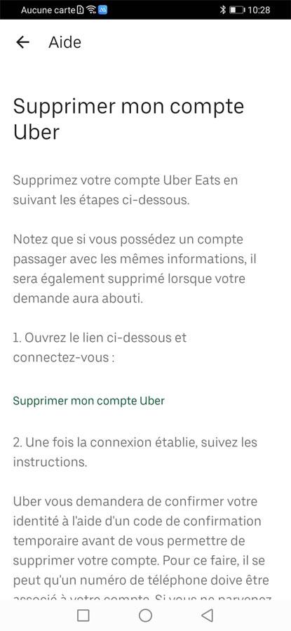 Supprimer mon compte Uber / Rubrique d'aide