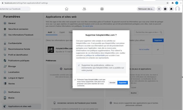 Supprimer un compte adopteunmec-du compte Facebook