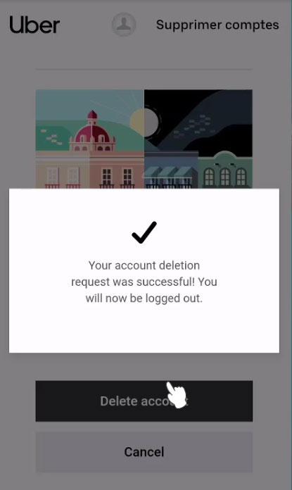 Supprimer un compte Uber de l'application Uber Eats