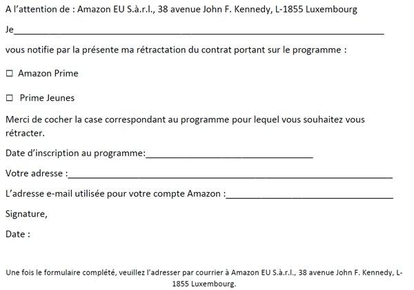 Se désinscrire d'Amazon Prime - Formulaire de rétractation