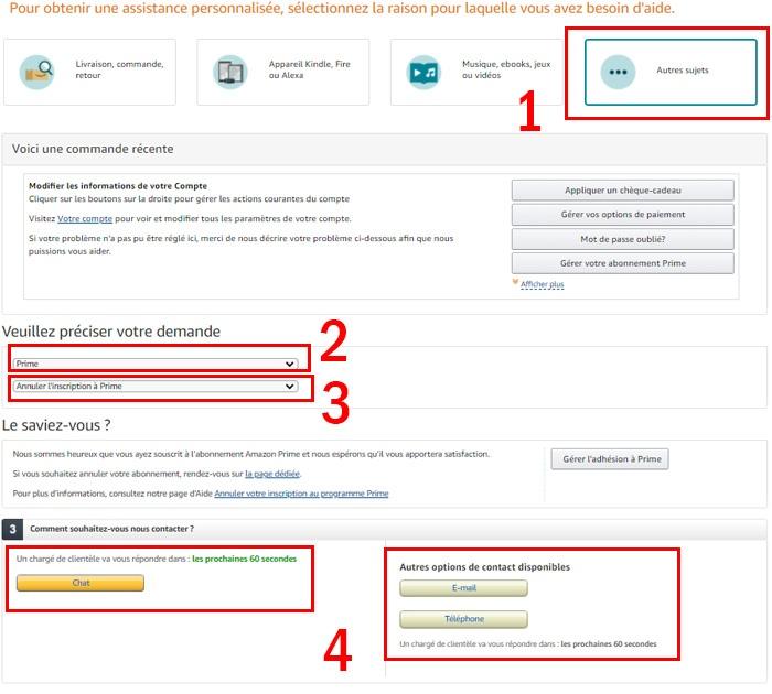 Service Client Amazon Prime : se désabonner et demander un remboursement